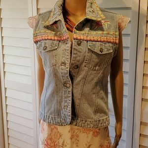 clasp--Embroidered Sequence Denim Vest